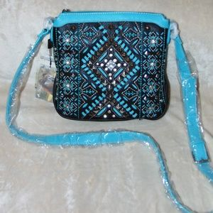 Turquoise Embroidered & Crystal Design Crossbody